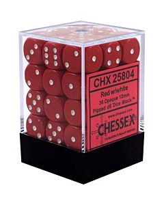 CHESSEX - Dados Red/White 12mm  c/36