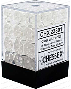 CHESSEX - Dados Clear/White 12mm c/36