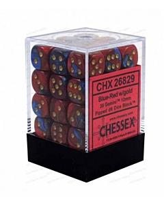 CHESSEX - Dados Blue-Red/Gold 12mm c/36