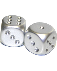 CHESSEX - Dados Par Metalicos Silver 16mm