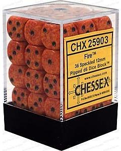 CHESSEX - Dados Fire 12mm  c/36