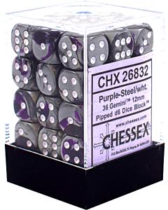 CHESSEX - Dados Purple-Steel/White 12mm c/36