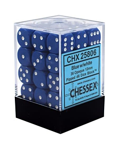 CHESSEX - Dados Blue/White Opacos 12mm c/36