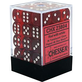 CHESSEX - Dados Red/White Translucent 12mm  c/36